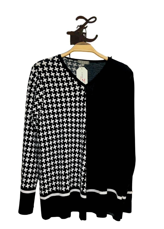 jersey-mujer-pata-gallo-blanco-negro-punto-bipbip-lopezientos