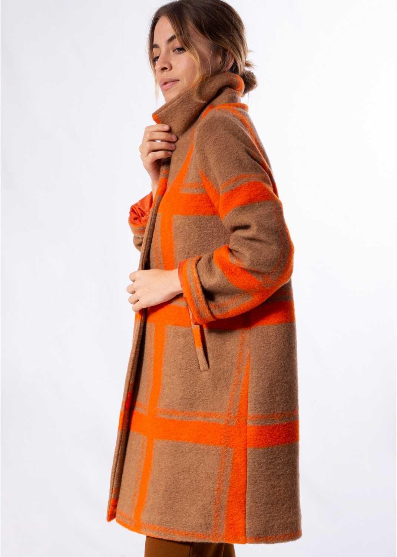abrigo-mujer-largo-lana-bolsillos-naranja-cuadros-parole-italy-lopezientos