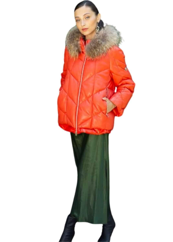 plumas-chaqueta-mujer-corto-naranja-acolchado-otono-invierno-donjaz-lopezientos